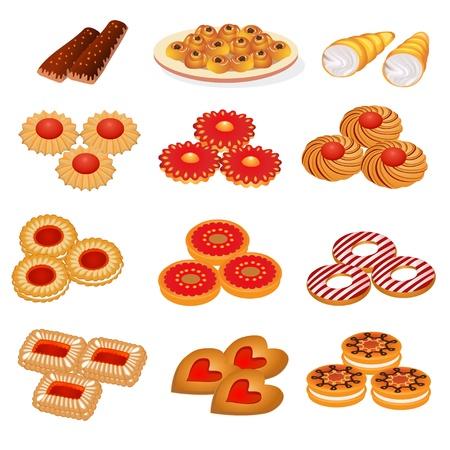 illustration set tasty sand cookies and cake