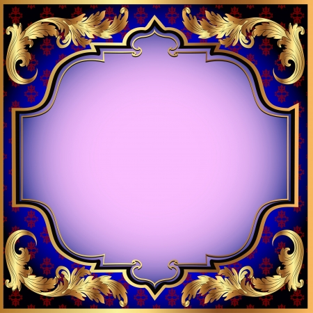 illustration a dark blue background with with a gold vegetative ornament and a pink shade Vector