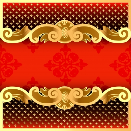 illustration a red background with a strip with a gold vegetative ornament and a grid Vector