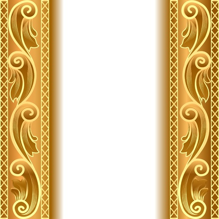 illustration a gold background with a strip with a gold vegetative ornament Vector