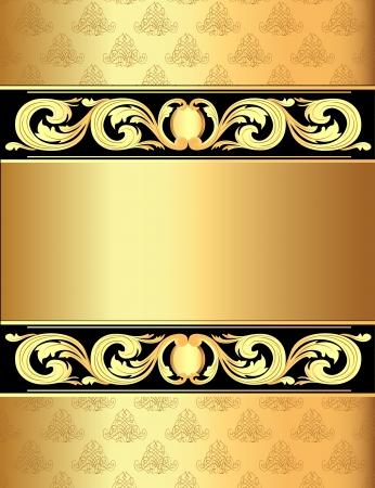illustratie een gouden achtergrond een frame met een vegetatieve ornament Stock Illustratie