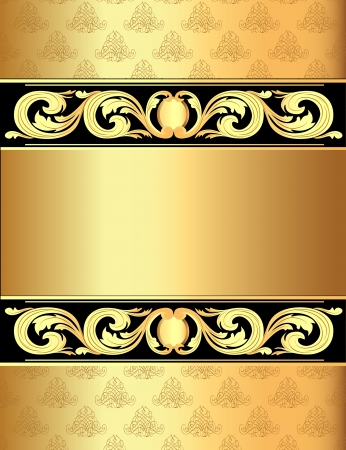 illustration a gold background a frame with a vegetative ornament Vettoriali