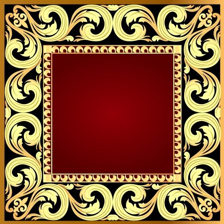 illustration a red background a frame with a gold ornament Vector