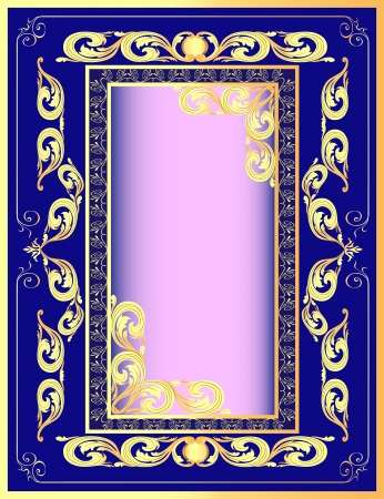 illustration a dark blue background a frame with a gold pattern Stock Vector - 15559152