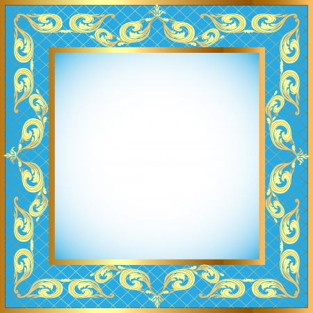 illustration a blue background a frame with a gold pattern Stock Vector - 15559188