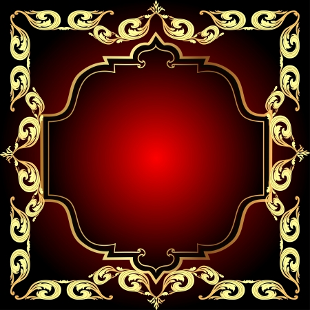 illustration a red background a frame with a gold pattern Vector