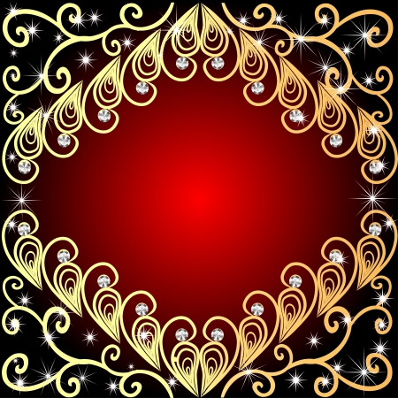 illustration a background a frame about gold a pattern and diamonds and stars Vector