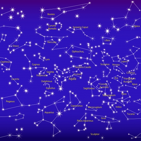 illustration night sky and constellations sign zodiac Stock Vector - 15630760