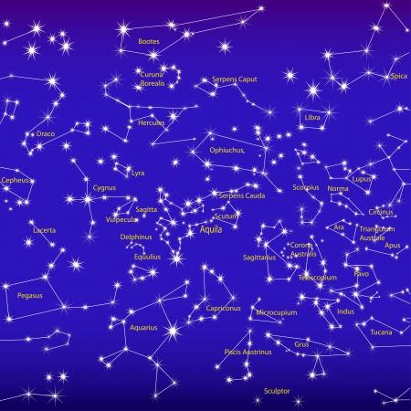 constelacion: ilustración cielo nocturno y las constelaciones del zodiaco signo