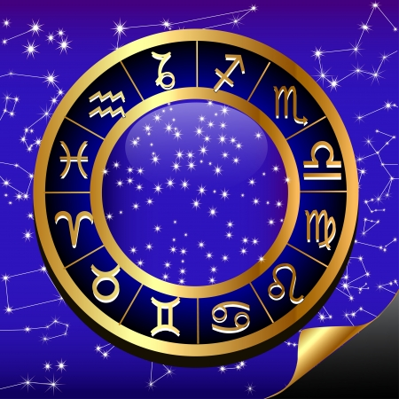 illustration night sky and gold(en) circle of the constellation sign zodiac