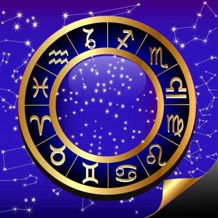 rueda de la fortuna: ilustración cielo nocturno y el círculo de oro (en) de la constelación del zodiaco Vectores
