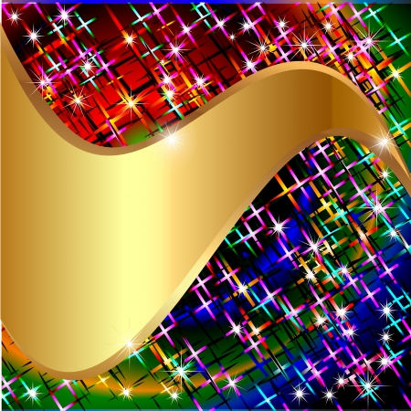 refraction of light: illustrations background with stars and gold(en) wave for message
