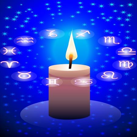 capricornio: noche cielo ilustración vela y el círculo de la constelación del zodiaco