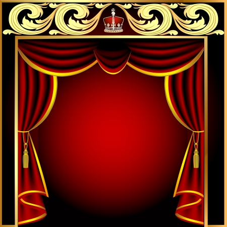 velvet rope: illustration background with theatrical curtain and gold(en) pattern