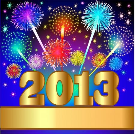 салют: Иллюстрация Новогодний фон с салютом и золота (EN) цифры