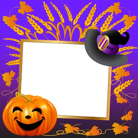 illustration festive hat and pumpkin on a background paper for the message Vector
