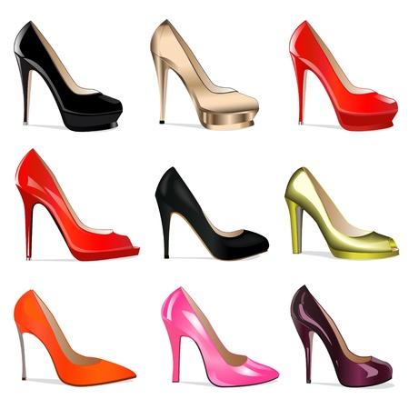 tacones rojos: ilustración conjunto de zapatos de mujer con tacones