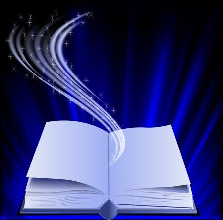 copertina libro antico: illustrazione illustrazione di libri sotto i raggi e le stelle