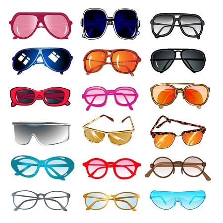 wears: illustration set of sunglasses and eyeglasses for vision correction
