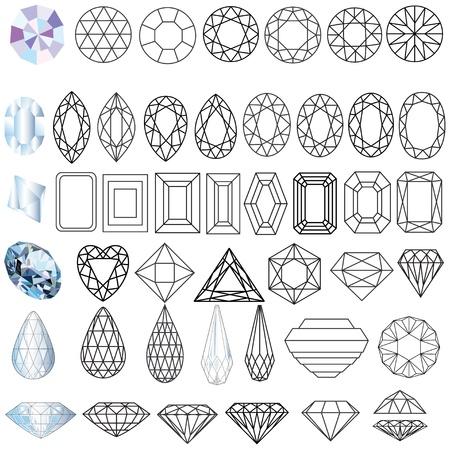 coeur diamant: illustration coup� pierres pr�cieuses ensemble de formes