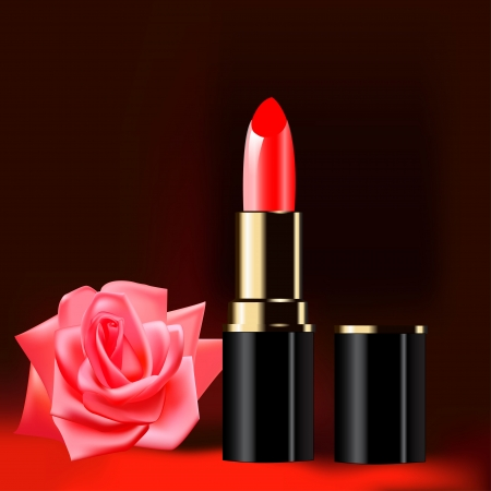 rose silhouette: illustration background with red lipstick and a rose Illustration