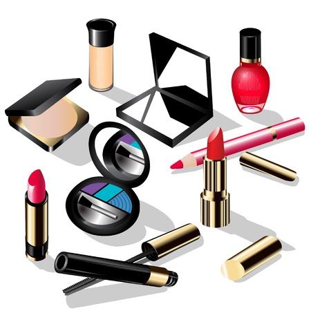 eyeliner: illustration decorative cosmetics lipstick, a pencil ink and shadows for eyes nail polish Illustration