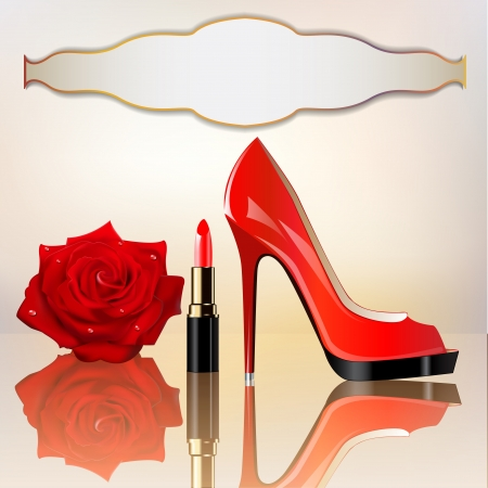 illustration a background for the message with lipstick a shoe and a rose Vector