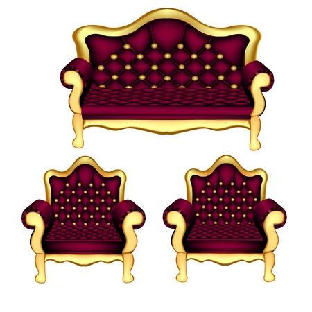 sofa viejo: ilustraci�n antiguo sof� c�modo y dos sillas