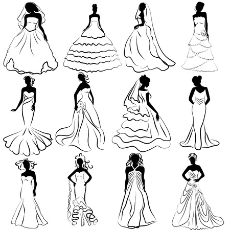 suknia ślubna: sylwetka zestaw ilustracji z narzeczonych zajmujących ślubu Ilustracja