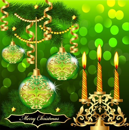 illustration of christmas background with balls and candles Christmas tree branch Stock Vector - 15899263