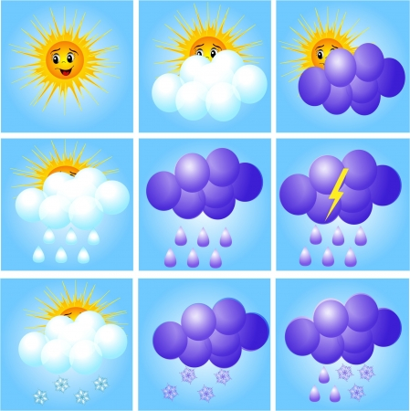 rainstorm: illustration merry set of icons to indicate weather