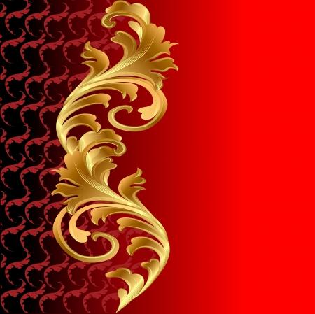 illustratie van een rode achtergrond met een gouden floral ornament