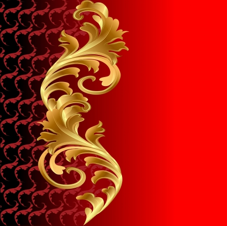 filigree background: illustration of a red background with a gold floral ornament Illustration