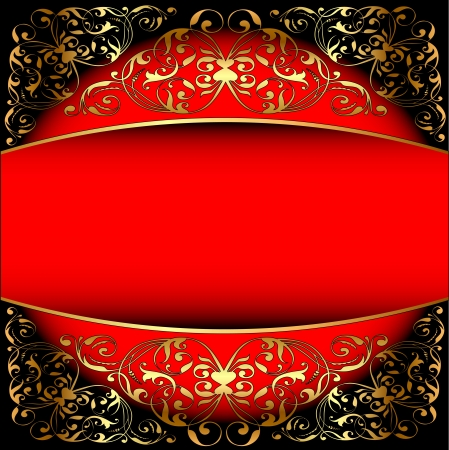 illustration a red background a frame with a gold pattern