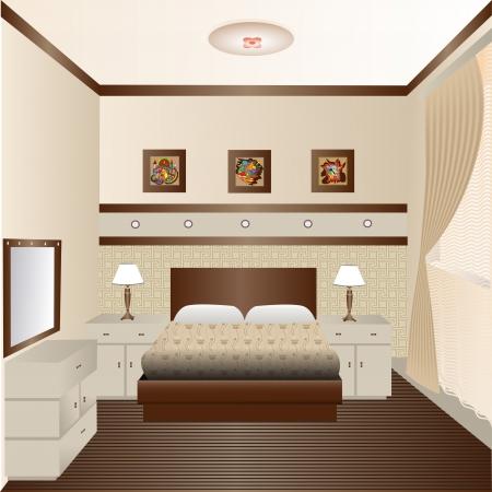 sconce: ilustraci�n habitaci�n interior con una ventana y un espejo