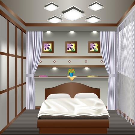 sconce: ilustraci�n interior del dormitorio con una ventana con cortinas Vectores