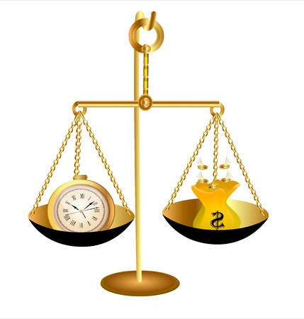 illustration of clock time money dollar on scales Vector