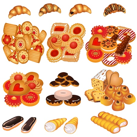 shortbread: illustration set tasty sand cookies and cake