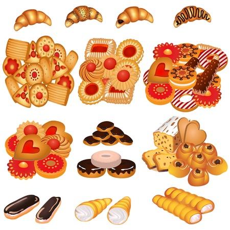 bułka maślana: Ilustracja zestaw smaczne ciasteczka i ciasto piaskowe
