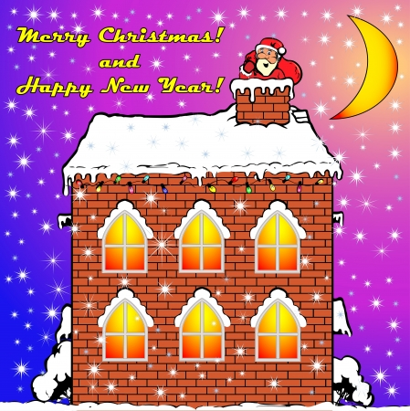 flue: the illustration Santa Claus on a house roof вылазит from a pipe flue