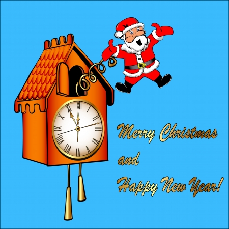 reloj cucu: la ilustración de Papá Noel felicita a partir de un reloj de cuco