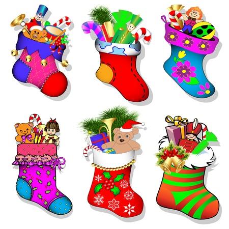 illustratie van een set van sokken met geschenken voor kerst Vector Illustratie