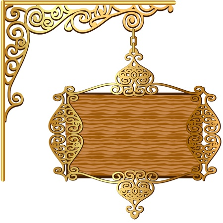wood craft: illustration of the Board forged gold ornament for posts Illustration