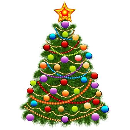 illustratie van de kerstboom versierd met ballen en kralen Stock Illustratie