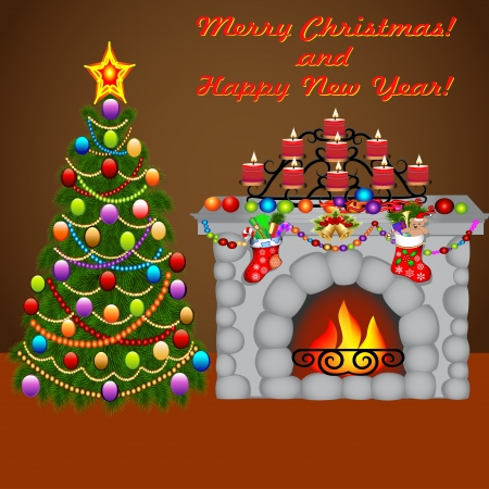 illustration of the Christmas tree, and a fireplace with socks with gifts Illustration
