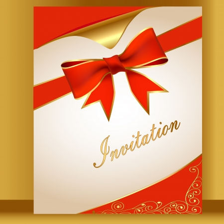 an illustration of the card with a red ribbon for the invitation of the Vector