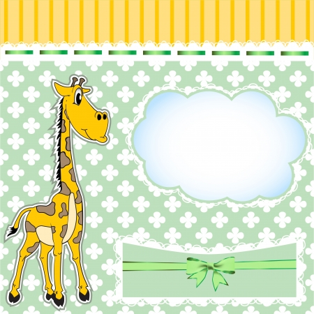 illustration background for children with a giraffe and a bow Vector