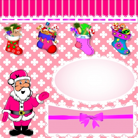 illustration background with Santa and stockings with gifts Vector