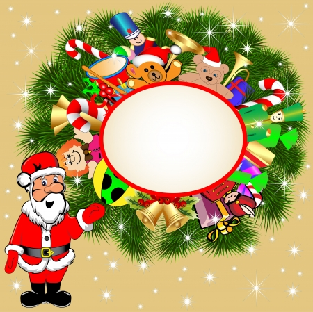 illustration background with Santa Claus and gifts Vector