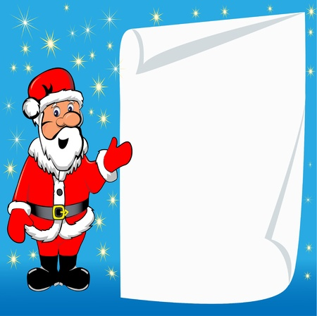 illustration background with Santa Claus and paper for messages Stock Vector - 16429475